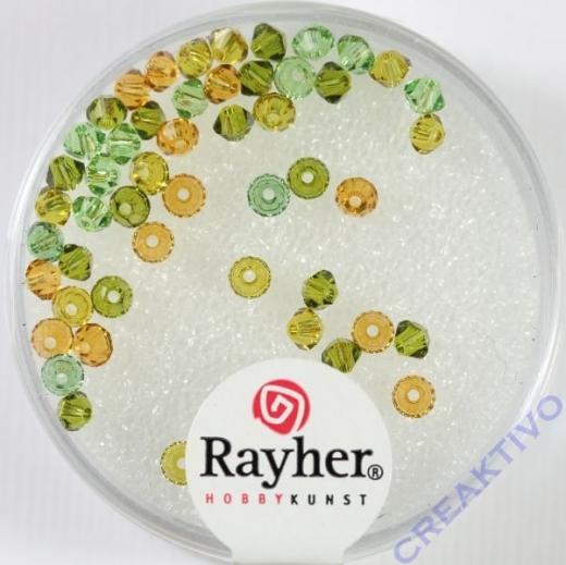 Rayher Swarovski Kristall-Schliffperlen 3mm gelb-grün-Töne