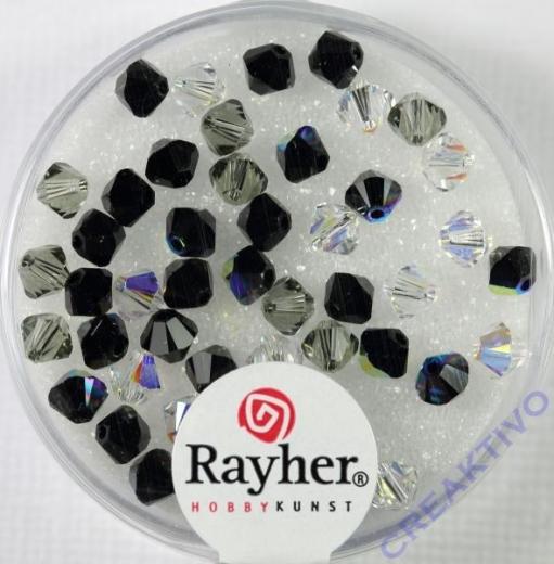Swarovski Kristall-Schliffperlen 4mm 50St schwarz-weiß-Töne