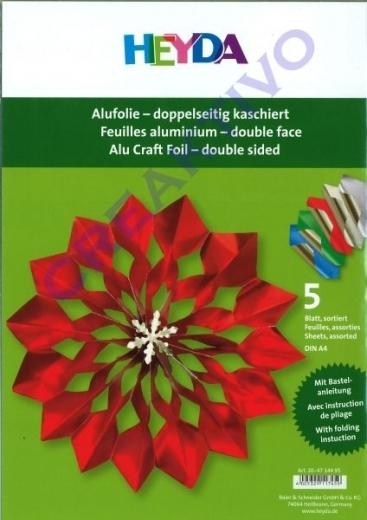 Alufolie - 5 Blatt DIN A4 sortiert