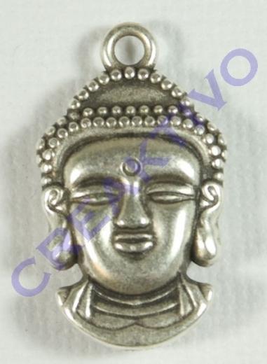 Rockstars Metall- Anhänger: Buddha, altsilber, 21mm, Öse 2mm ø