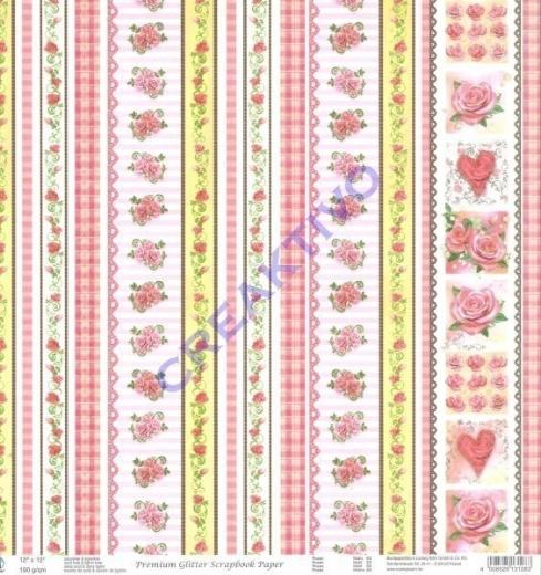 Premium Glitter Scrapbook paper Rosen 83