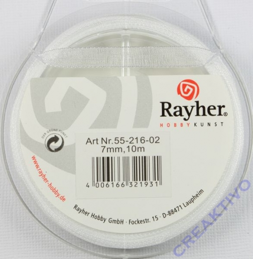 Rayher Organzaband 7mm 10m weiß