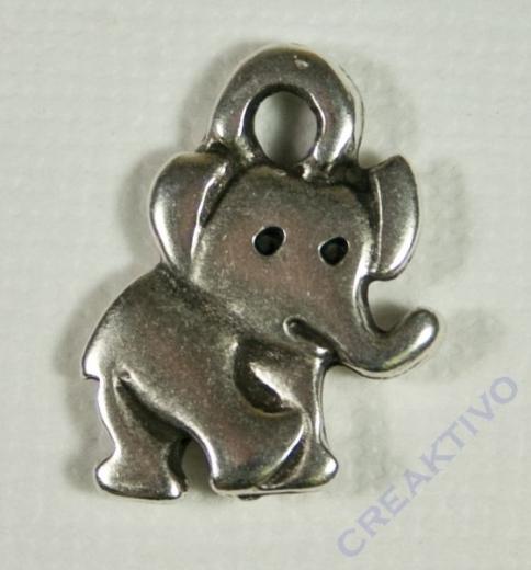 Anhänger Elefant platin antik 20x15mm