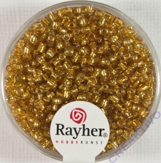 Rocailles 2 mm ø mit Silbereinzug gold