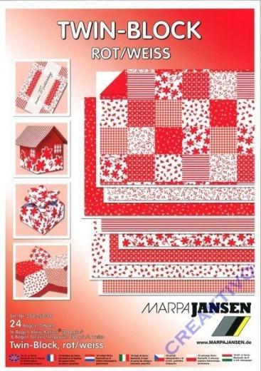 Twin-Block Variokarton DIN A4 Rot/Weiß (Restbestand)
