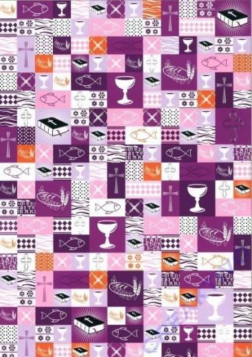 Bastelkarton Kommunion / Konfirmation violett Patchwork
