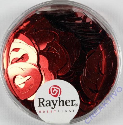 Pailletten Herz 6+13 mm rot