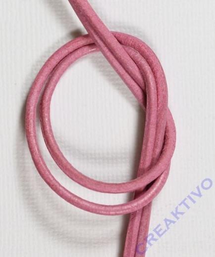 Rundriemen Lederband aus Rindleder 100cm 2mm pink
