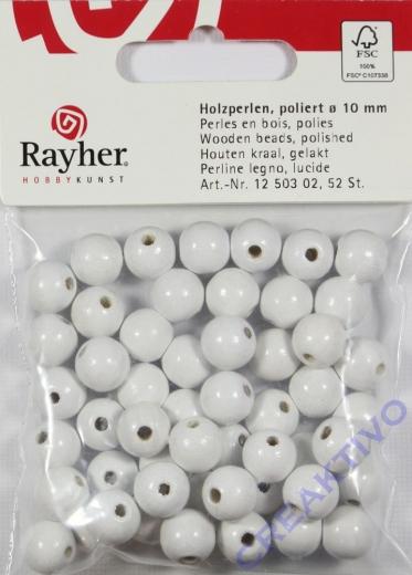 Rayher Holzperlen FSC, poliert 10mm 52St weiß