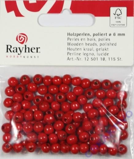 Rayher Holzperlen FSC, poliert 6mm 115St rot