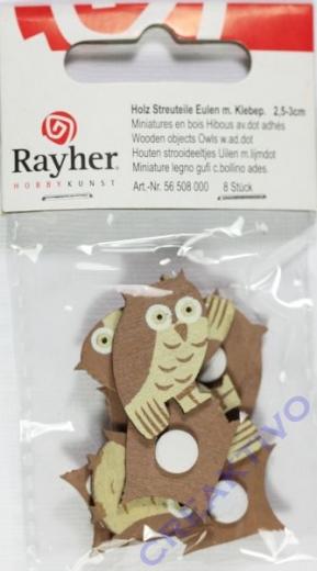 Holz-Streuteile Eulen mit Klebep. 8 Stück