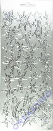 Stickerbogen Sterne silber 22x9cm