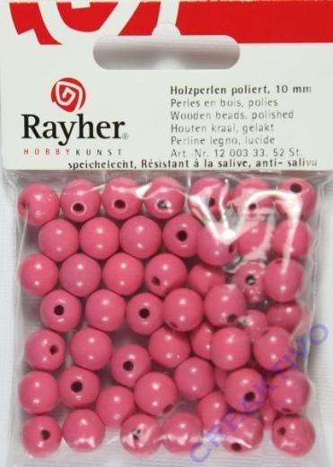 Rayher Holzperlen FSC, poliert 10mm 52St pink
