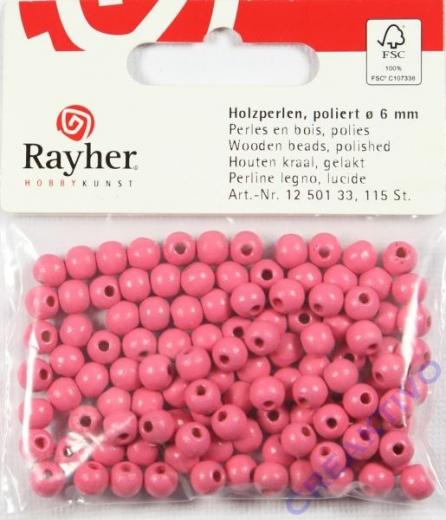 Rayher Holzperlen FSC, poliert 6mm 115St pink