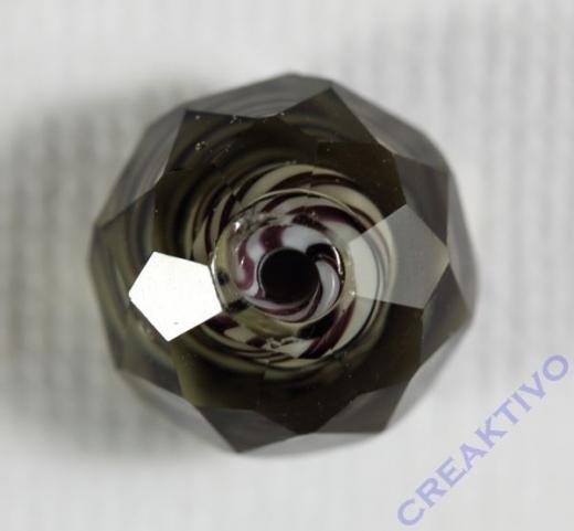Glasschliffperle Streifenperle 12mm grau