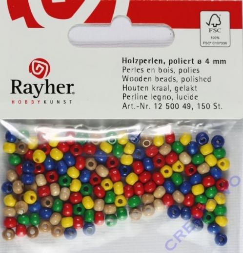 Rayher Holzperlen FSC, poliert 4mm 150St gemischt