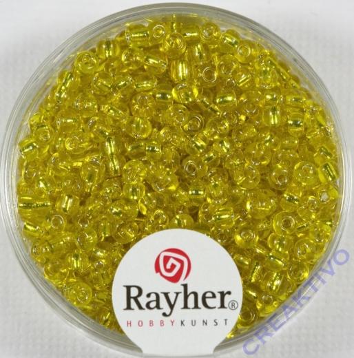 Rocailles 2,6mm ø mit Silbereinzug gelb