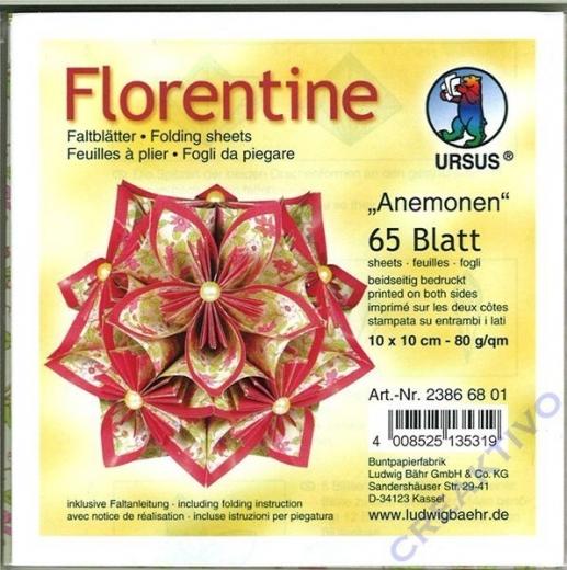 Florentine Faltblätter Anemonen 10x10cm 65 Blatt rot