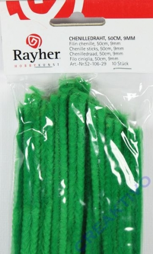 Chenilledraht 50cm 9mm 10 Stück grün