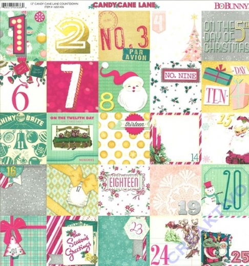 Scrapbooking Papier Candy Cane Lane - Countdown (Restbestand)
