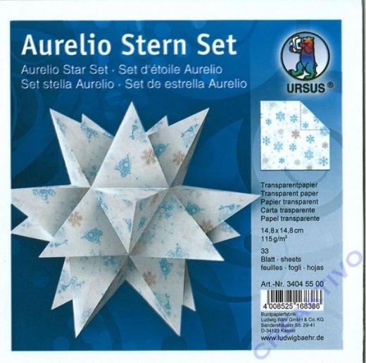 Aurelio Stern Set 15x15cm Transparentpapier Kristalle blau/braun