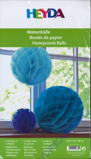 Wabenbälle Blau-Töne
