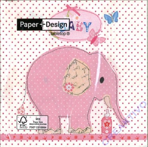 Servietten 33 x 33 cm Baby Elefant rosa