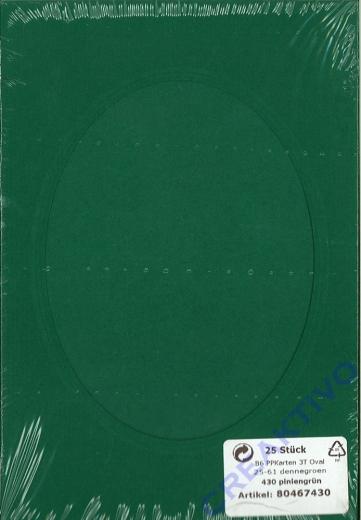 Passepartoutkarten B6 dreiteilig Auschnit oval Set 25 Stück piniengrün (Restbestand)