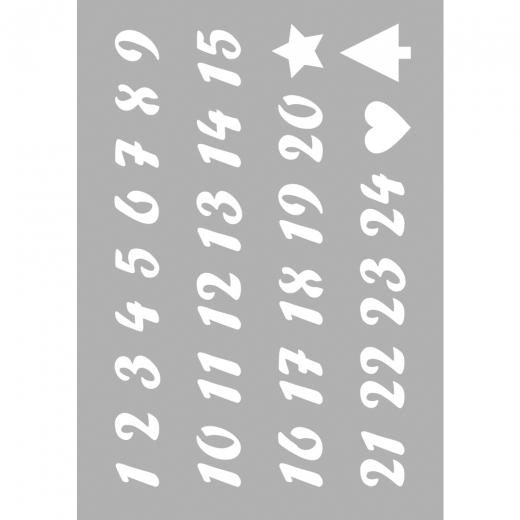Schablone DIN A5  Zahlen 1-24