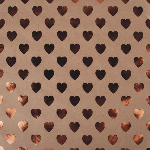 Scrapbookingpapier Kraft-Herzen kupfer