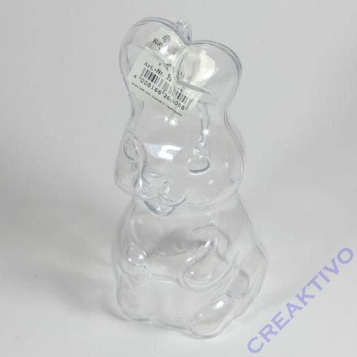 Plastik Hase 2-tlg., kristall, 13,5cm, stehend