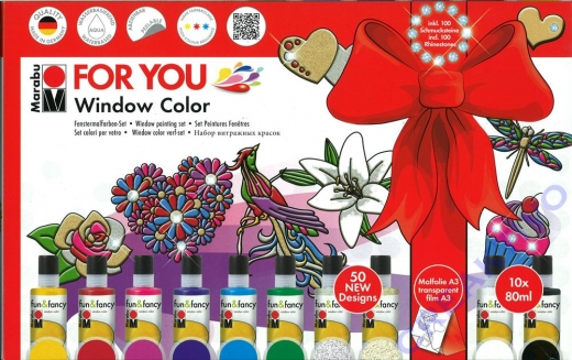 Marabu Window Color fun&fancy, 10er-Set FOR YOU, 10x80 ml