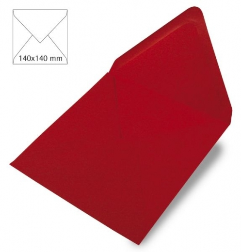 25 Kuverts quadratisch 140x140mm 90g kardinalrot (Restbestand)
