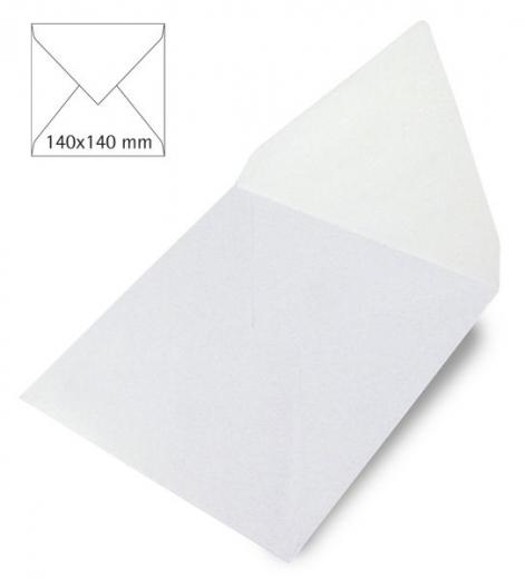 25 Kuverts quadratisch perlmutt 140x140mm 120g weiß (Restbestand)