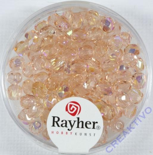 Glas-Schliffperlen, 4 mm ø irisierend rosenquarz