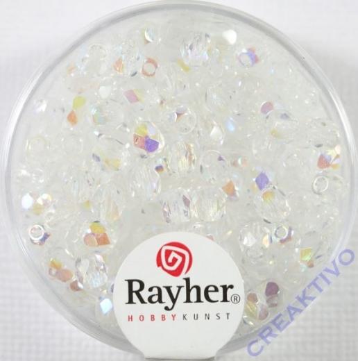 Glas-Schliffperlen, 4 mm ø irisierend bergkristall