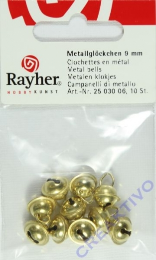 Rayher Metallglöckchen kugelförmig 9mm gold 10 Stück