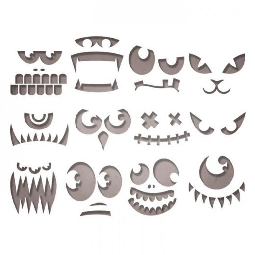 Sizzix Thinlits Die Set 12PK - Frightening Faces