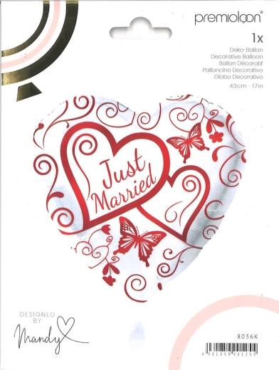 Folienballon Just married rot/weiß