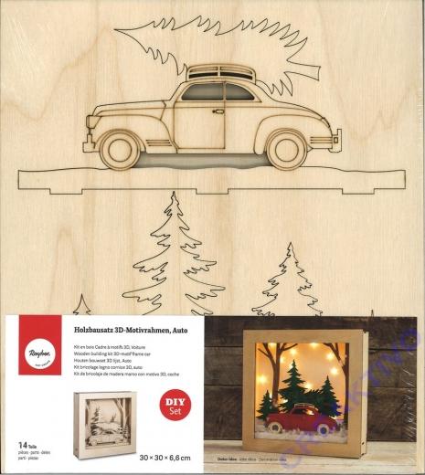 Holzbausatz 3D-Motivrahmen Auto