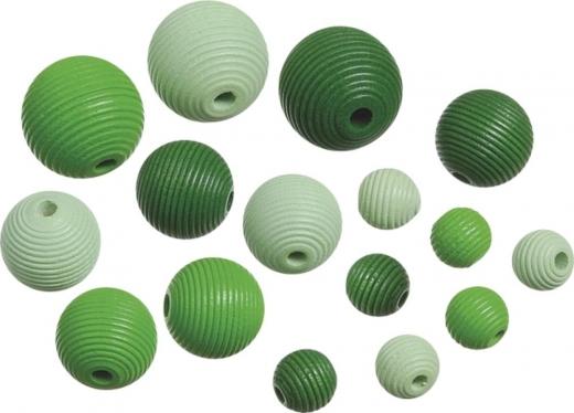 Holzperlen-Mix  Rillenperlen grün 20 Stück