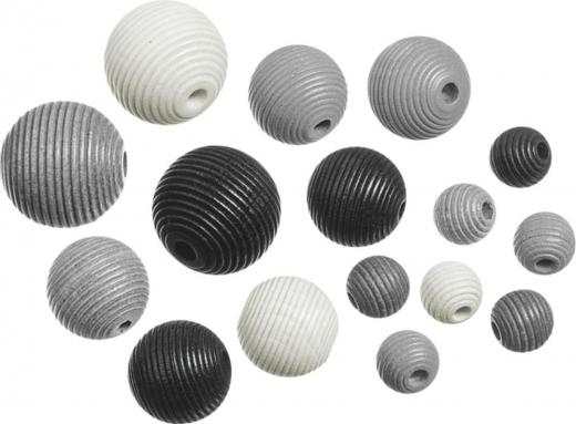 Holzperlen-Mix  Rillenperlen schwarz weiß 20 Stück