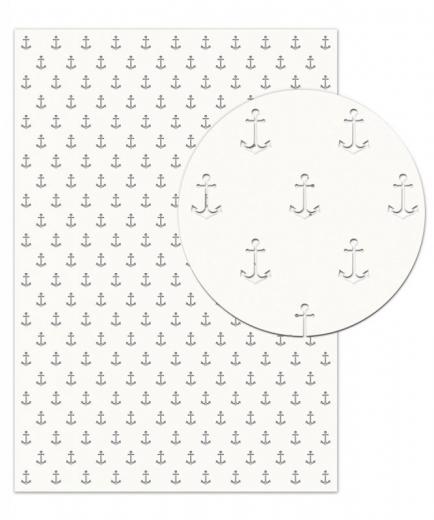 Silhouetten-Karton Anker weiß gelasert