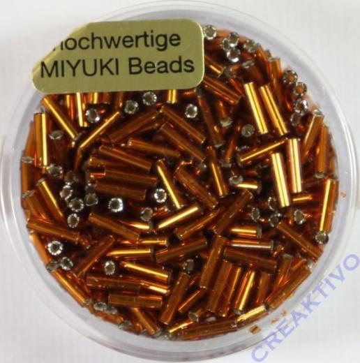 Japanische Miyuki-Stifte 6mm mit Silbereinzug hellbraun