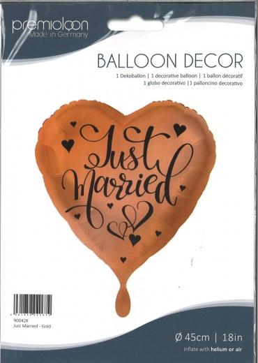 Folienballon Just married - Gold