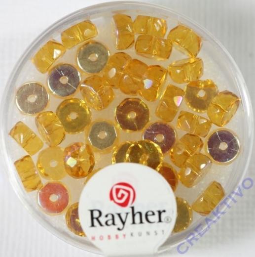 Glas-Schliffperlen, Radl 6x3 mm irisierend topas
