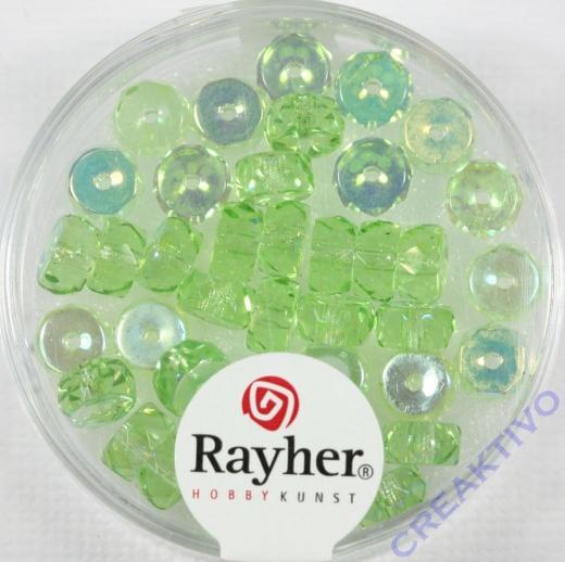 Glas-Schliffperlen, Radl 6x3 mm irisierend jaspis