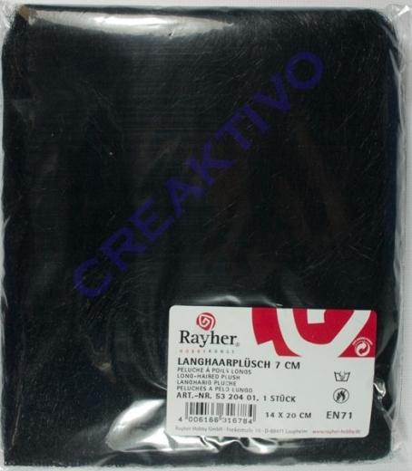 Rayher Langhaarplüsch 14x20cm schwarz