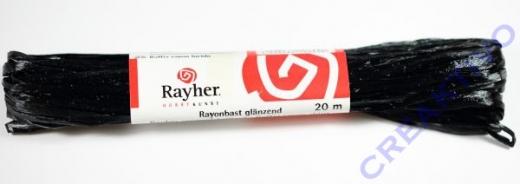 Rayonbast glänzend 20m schwarz