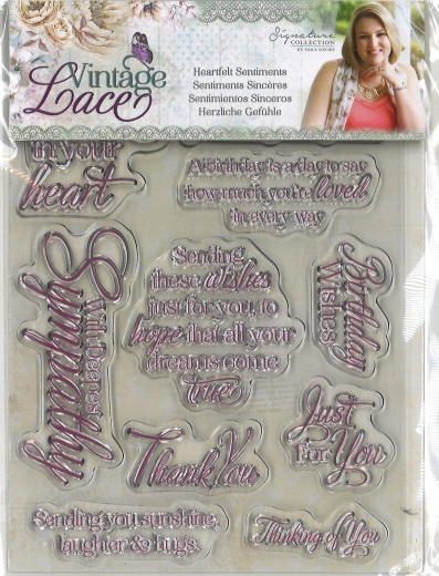 Crafters Companion Vintage Lace Clear Stamps - Heartfelt Sentiments